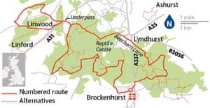 Cycling map: Brockenhurst circular