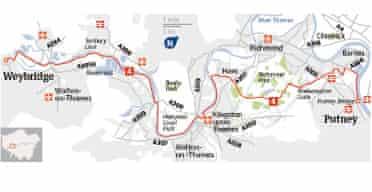 Cycling map: Putney Bridge to Weybridge