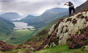 Looking down on Buttermere and Crummock Water on the route to Hay Stacks in the Lake District