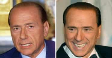 Silvio Berlusconi, before and after his transformation