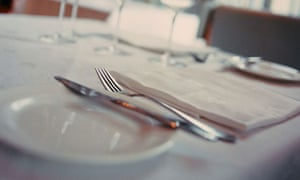 Eating out - place setting in a restaurant dining room