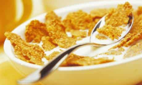 Bowl of cornflakes for breakfast