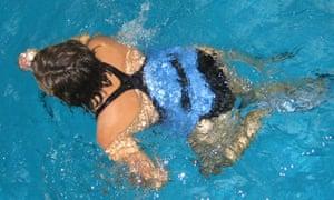 Aqua running in swimming pool