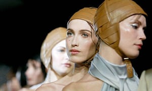 Models wearing leather hats