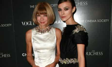 Kiera Knightley and Anna Wintour at Chanel's launch party for the film The Duchess