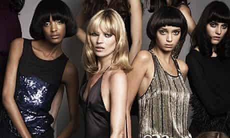 Kate Moss and models wearing clothes from her Topshop collection