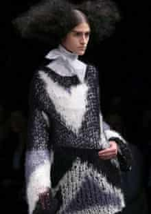 Model wearing spiderweb knit jumper at Alexander McQueen's Autumn/winter show 2008