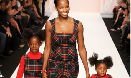 Jamelia wearing tartan attends Naomi Campbell's Fashion For Relief Show at London Fashion Week 2008