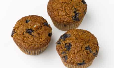 Dark blueberry bran muffins