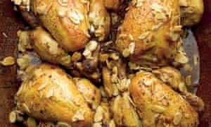 Sumac-marinated baby chickens stuffied with bulgar and lamb