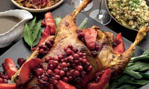 Roasted goose with quince, cranberries and maple gravy