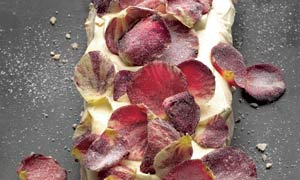 Meringue roulade with rose and morello cherries