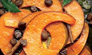 Roasted pumpkin wedges with chestnut, cinammon and fresh bay leaRoasted pumpkin wedges with chestnut, cinammon and fresh bay leaves. Photograph: Colin Campbell