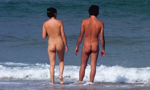 Nudist couple on the beach