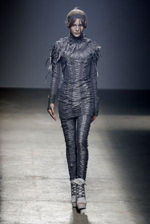 Gareth Pugh: A model wears Gareth Pugh