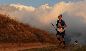 A competitor in the Ultra-Trail du Mont Blanc