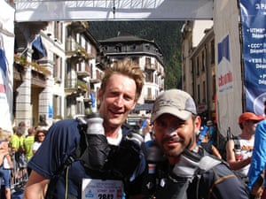 Race gallery: blake and Duncan at the finish line of thee Ultra-Trail Mont Blanc
