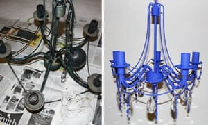 Perri's chandelier, before and after the revamp