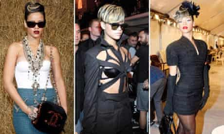 Rihanna at the Chanel show, the Jean Paul Gaultier show and the Christian Dior show