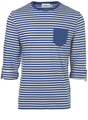 Xmas gifts mens fashion: Blue striped T shirt by Topman