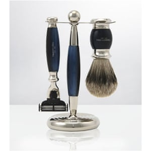 Xmas gifts mens grooming: Edwardian Blue Opal Shaving Set