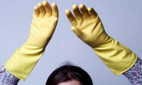 Rubber washing up gloves