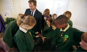 David Blunkett with pupils from St. Patrick primary.