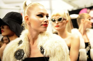 NY fashion week: Models backstage at the Barbie Mattel show