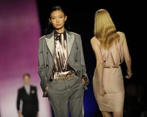NY fashion week: Thursday: A model wears Tommy Hilfiger