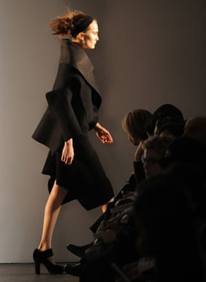 NY fashion week: Thursday: A model wears Calvin Klein