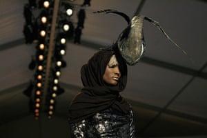 NY fashion week: Thursday: A model wears Christian Siriano