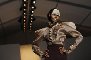 NY fashion week: Thursday: A model wears Christian Siriano and a golden fringe