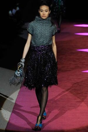 NY fashion week: Thursday: A model wears Custo Barcelona