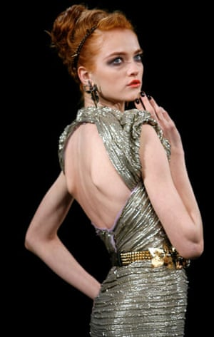 NY fashion week: Thursday: A model wears Zac Posen