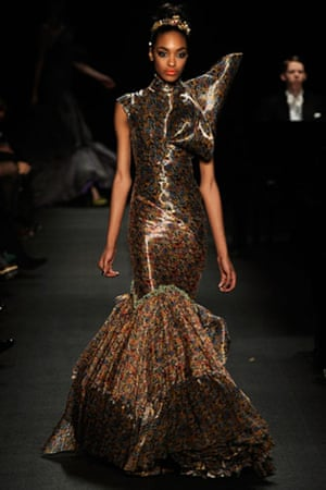 NY fashion week: Thursday: Jourdan Dunn wears Zac Posen