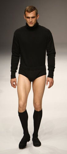 LFW: menswear: A menswear model presents a creation from the MAN collection