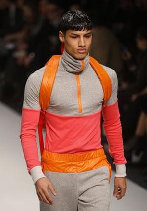 LFW: menswear: A model wears MAN
