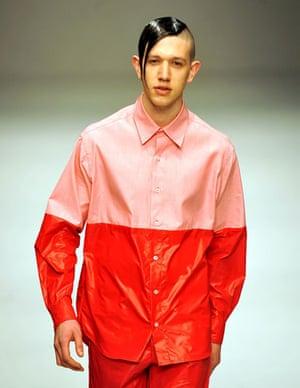 LFW: menswear: A model wears Christopher Shannon
