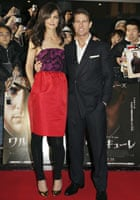 Tom Cruise and Katie Holmes at the premiere of Valkyrie in Japan