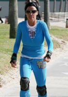 Katie Price and Peter Andre rollerblading in LA