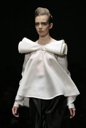 MFW: weekend roundup: A model wears Gianfranco Ferre