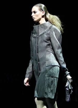Milan Fashion Week: Model wearing Versace