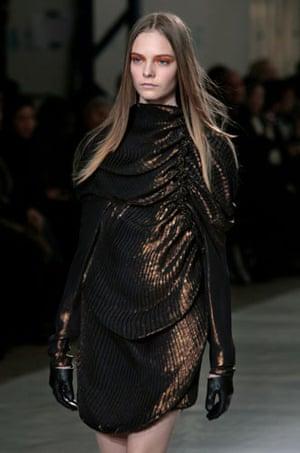 Paris FW Thursday: A model wears Sharon Wauchob