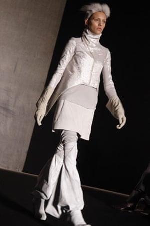 Paris FW Thursday: A model wears Rick Owens