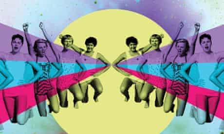 Women in bathing suits, waving
