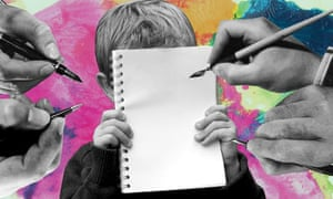 Boy holding notepad while adult hands are writing on it