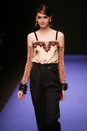 Paris FW Weekend: A model wears Gaspard Yurkievich