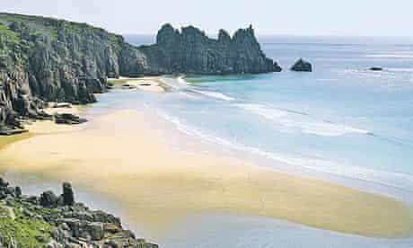 Porthcurno Beach at low tide