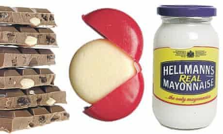 Foodies' guilty pleasures, l-r: Cadbury's fruit & nut, Babybel and Hellman's mayonnaise.