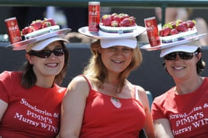 Wimbledon fashion: Fans wearing strawberries and Pimms hats